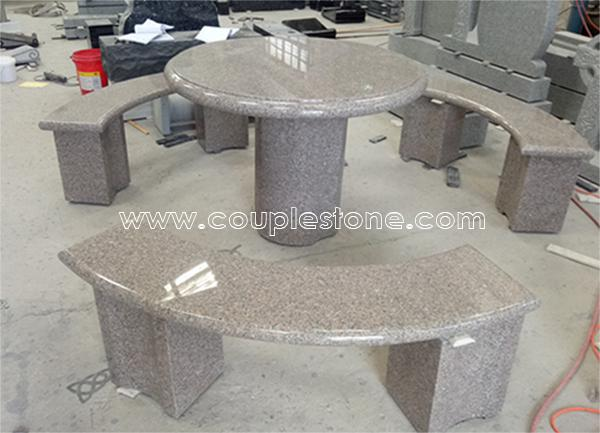 Round table and bench